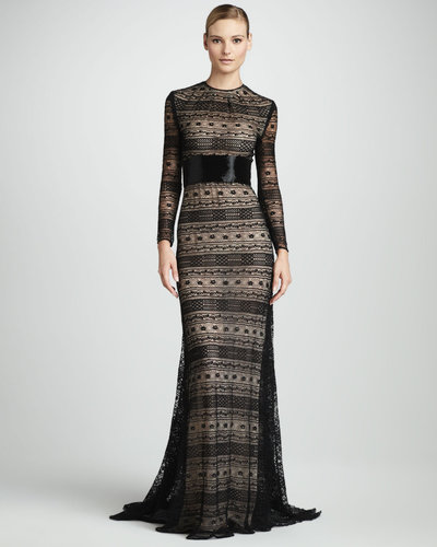 Naeem Khan Geometric-Lace Gown