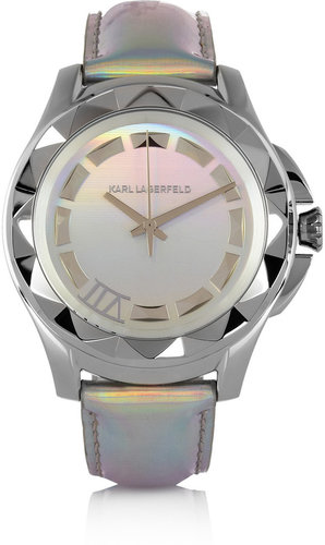 Karl Lagerfeld Karl 7 stainless steel holographic-leather watch