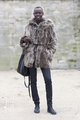 Simple and luxe, all at once with a fur jacket and slim denim bottoms.