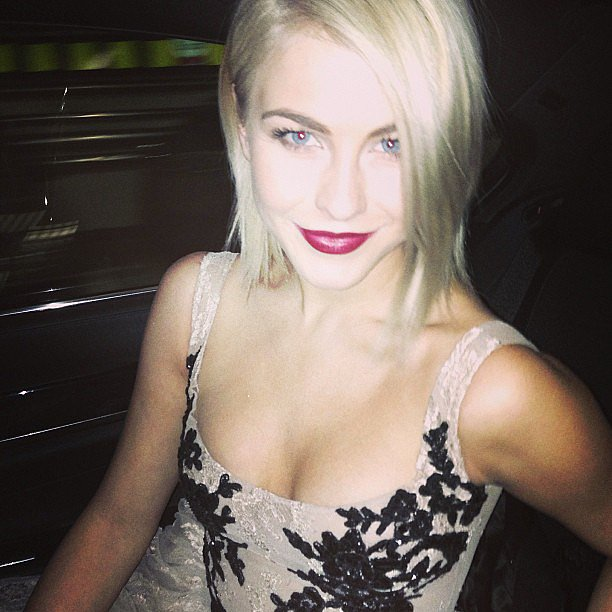 It was all about bold lipstick for Julianne Hough at the Berlin premiere of Safe Haven. Source: Instagram user juleshough