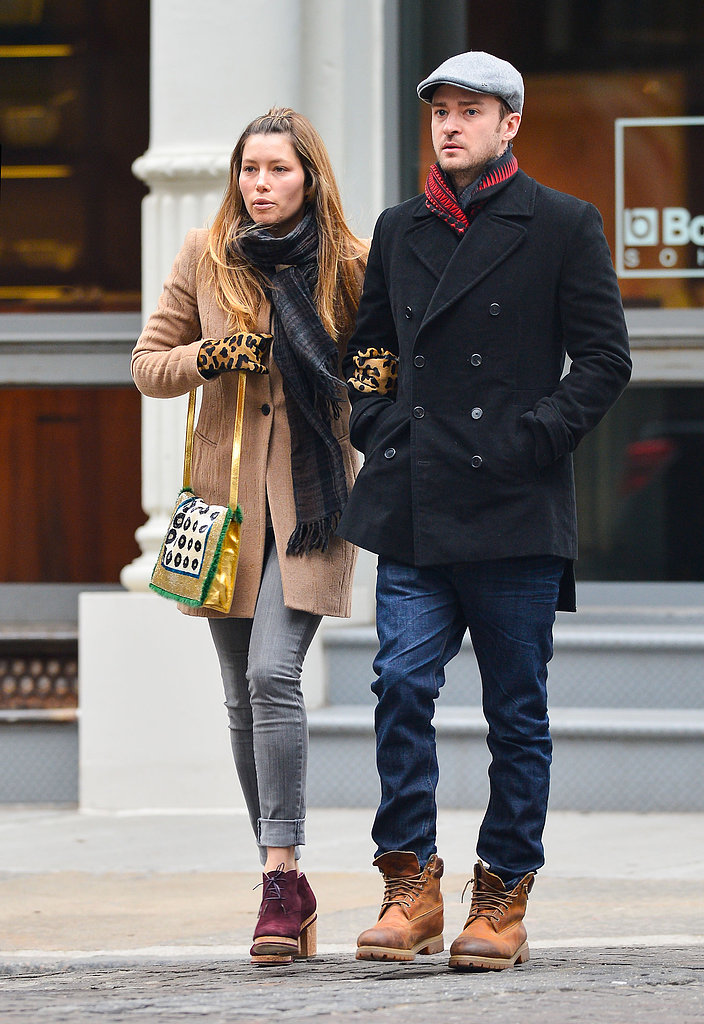 Jessica Biel wore leopard-print gloves and Justin Timberlake kept warm with a scarf in NYC on Friday.