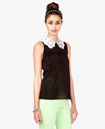 FOREVER 21 Laser Cut Collar Top