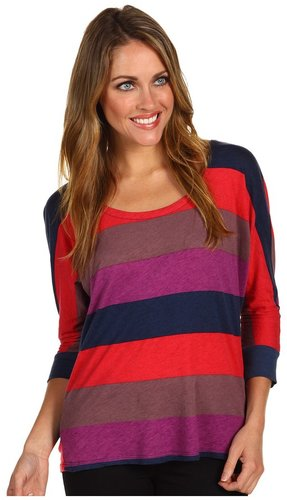 Splendid - Colorblock Rugby Drape Back Top (Cabaret) - Apparel