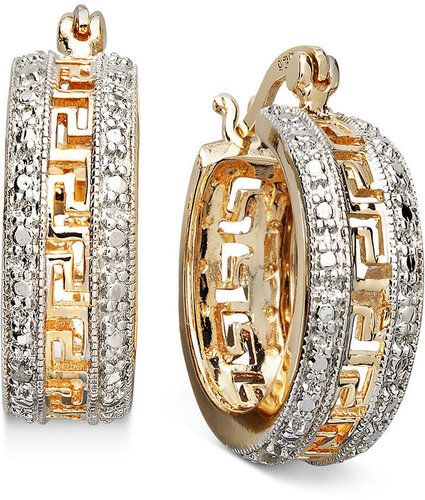 Victoria Townsend 18k Gold Over Sterling Silver Earrings, Diamond Accent Greek Key Hoop Earrings