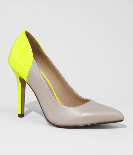 Neon Accent Pointed Toe Leather Pumps