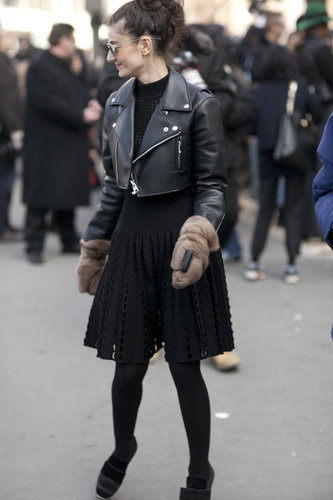 It was all about the cropped moto jacket and furry gloves.