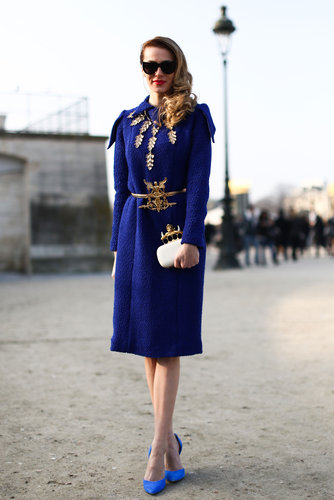 Opulent detailing on a royal blue coat gave this look a regal feel.