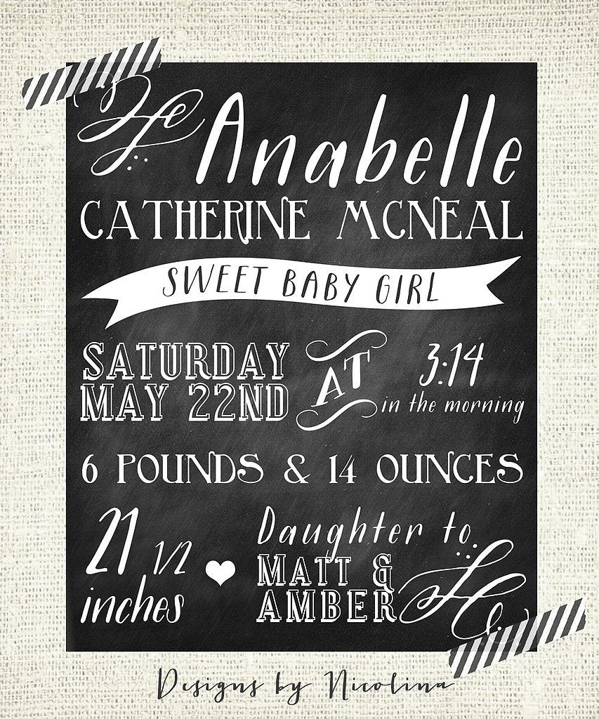 The Annabelle Chalkboard Custom Designed Nursery Poster Wall Art