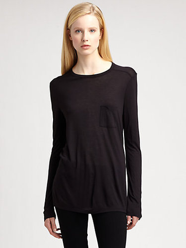 T by Alexander Wang Classic Long-Sleeve Pocket Tee