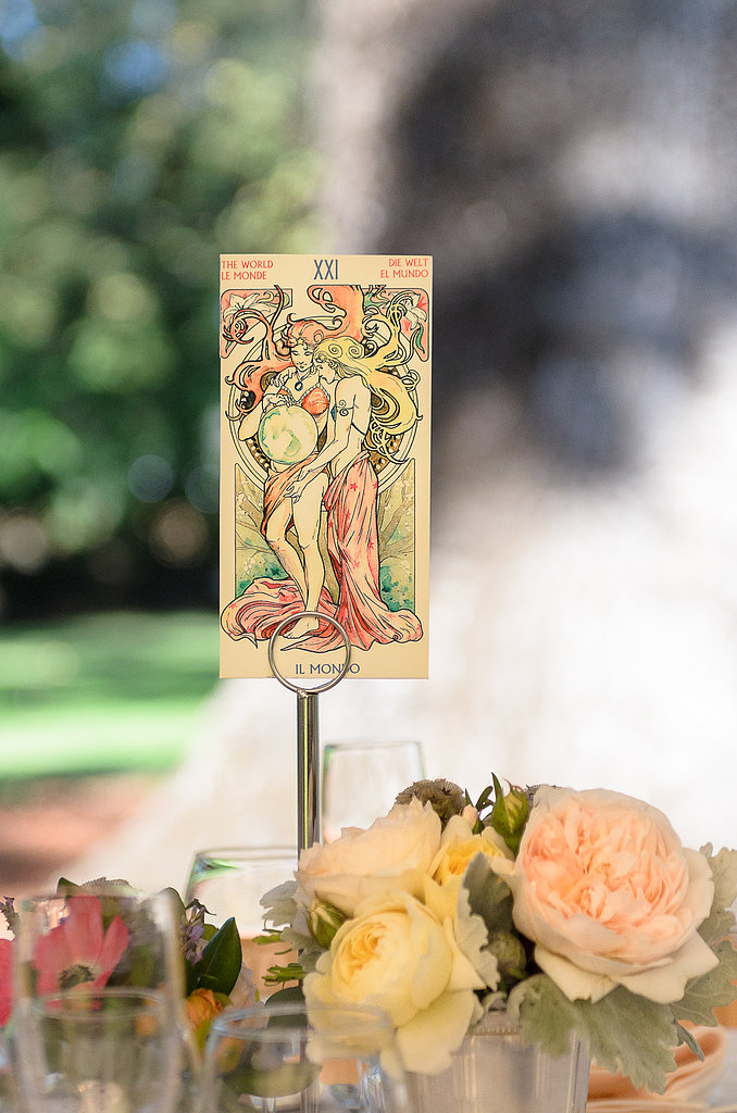 It's never too late for a personal touch! At the last minute, the bride used these vintage-print tarot cards for table numbers. Source: Juliette Tinnus