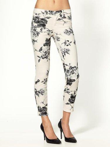 J Brand Mid Rise Large Floral Capri Jeans