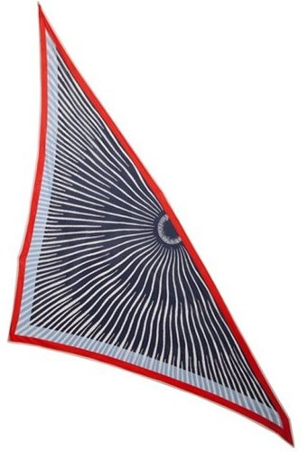 Hermes navy sun ray stripe burst print silk triangle scarf