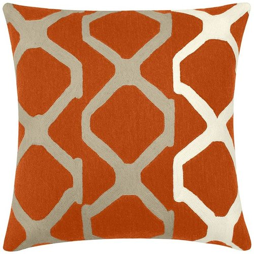 Judy Ross Textiles - Arbor 18x18 Chain Stitch Pillow Coral