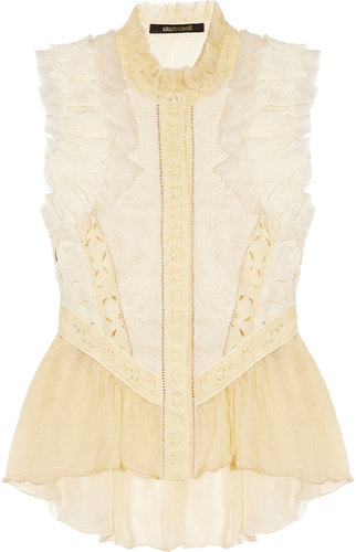 Roberto Cavalli Silk-chiffon and broderie anglaise cotton top