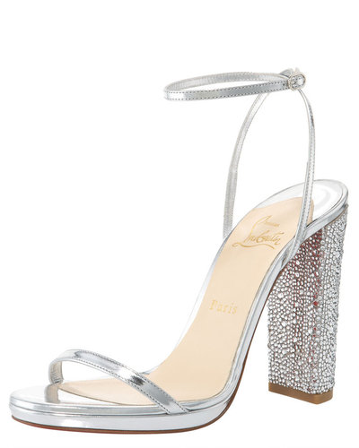Christian Louboutin Au Palace Crystal-Heel Metallic Sandal