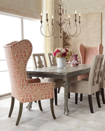 "Haute House ""Liday"" Dining Table, ""Benjamin"" Carved-Back Chair, and Pink Damask Wing Chair"