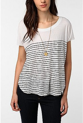 Mouchette Striped Shirttail Tee