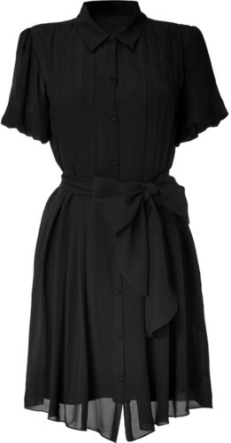 LAgence Black Front Pleated Shirt Dress