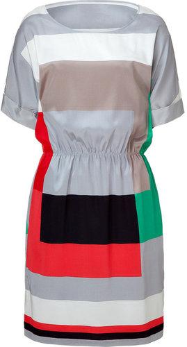 DKNY Silver/Fuchsia Multicolor Geometric Silk Stretch Dress