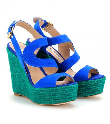 Brian Atwood SUEDE ESPADRILLE WEDGES