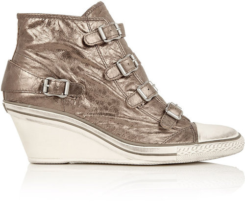 Ash Genial Metallic Mid Wedge Buckle Trainer