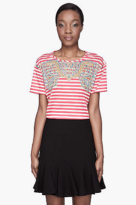 CARVEN Red Striped paisley printed t-shirt