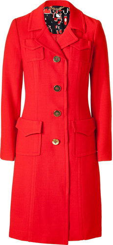 Milly Lipstick Red Coat with Gold Buttons