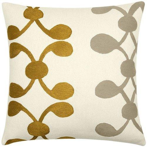 Judy Ross Textiles - Celine 18x18 Chain Stitch Pillow Cream