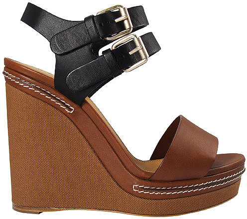 Chloé Canvas Wedge Leather Sandal