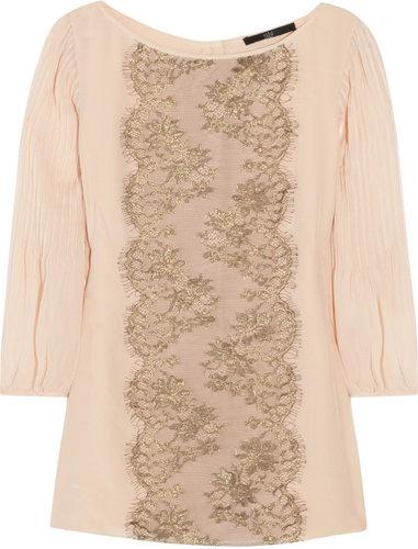 Tibi Lace-front silk-chiffon blouse