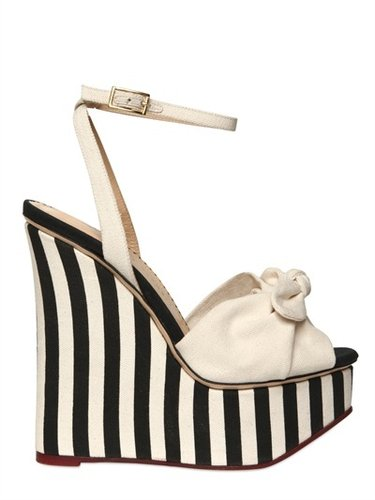 Charlotte Olympia - 160mm Striped Cotton Linen Wedges