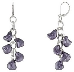 Purple Shell Pearl Silver Plated Short Earrings By SNO