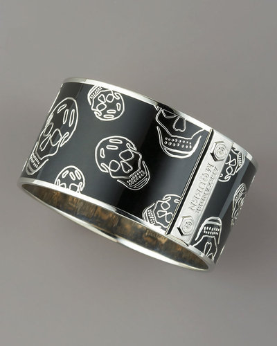 Alexander McQueen Large Enamel Skull Bangle, Black