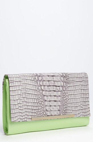 Diane von Furstenberg 'Adele' Croc Embossed Clutch