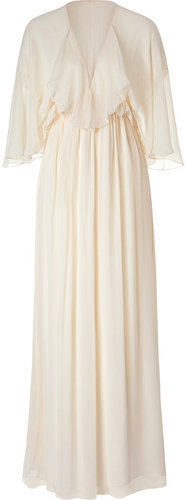Ralph Lauren Collection Chandra Champagne Beaded Crinkle Chiffon Dress