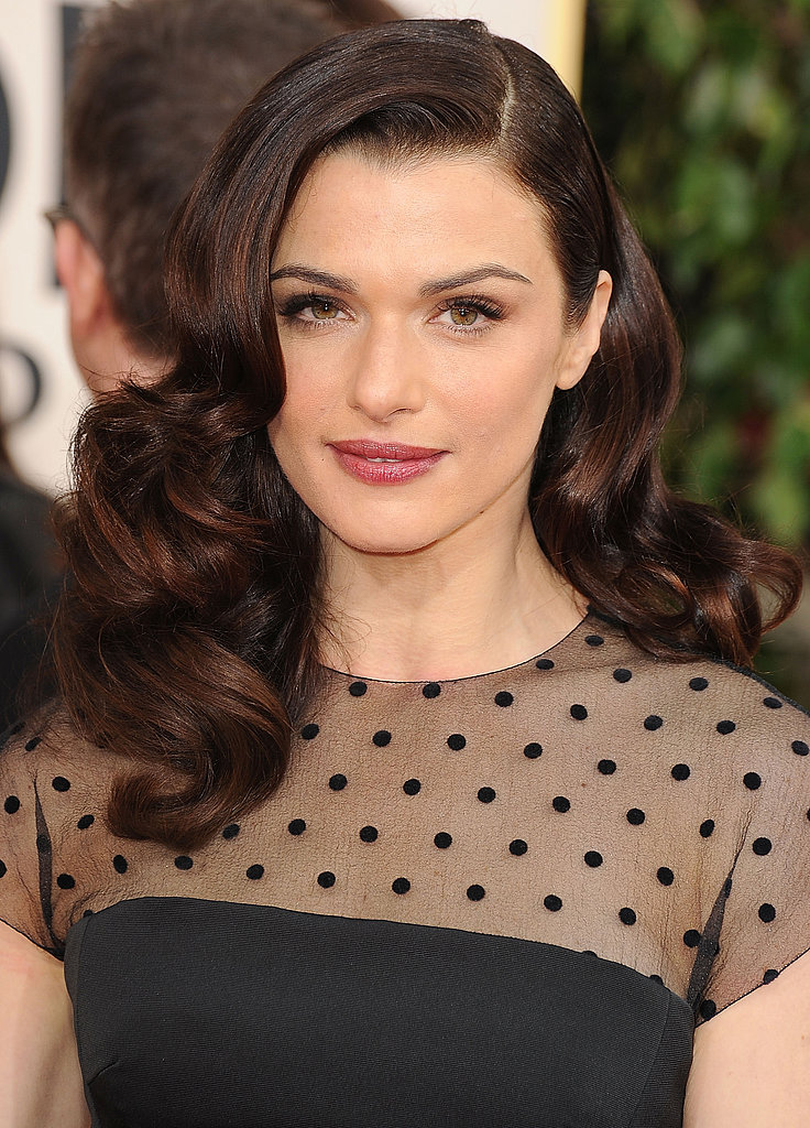 At this year's Golden Globes, Rachel was a vision in side-swept curls and berry lips.