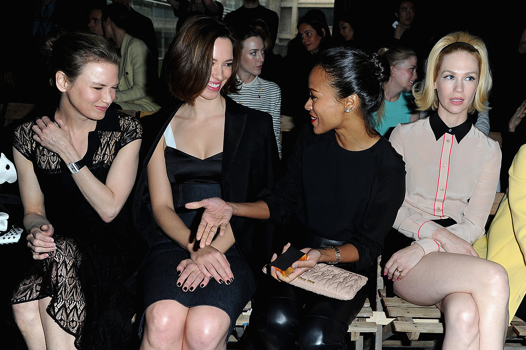 Renée Zellweger, Rebecca Hall, Zoe Saldana, and January Jones made the Miu Miu show a Paris girls' day in March.