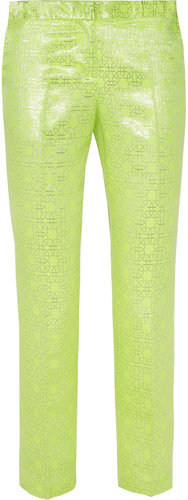 Tibi Neon and metallic jacquard straight-leg pants