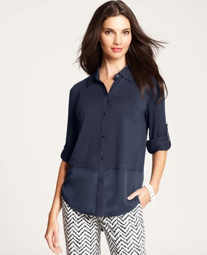 Petite Georgette Shirttail Hem Shirt