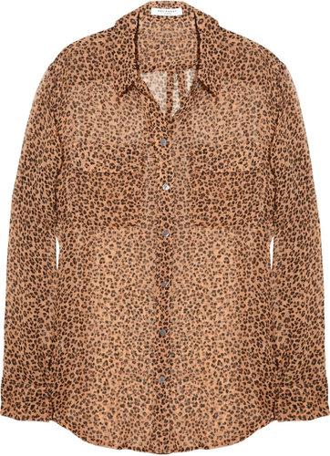 "Splurge: Melanie Fiona's Ojon ""Rare Blend Oil"" Launch Event Equipment Signature Leopard Print Silk Chiffon Shirt"