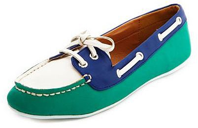 PU Color Block Boat Shoe