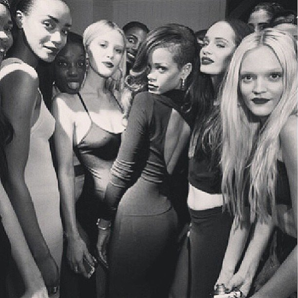 Rihanna posed with some models backstage at her River Island fashion show. Source: Instagram user badgirlriri