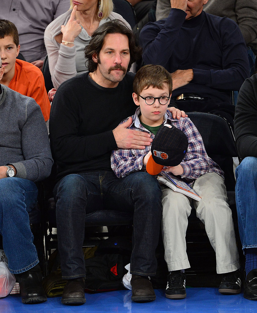 Paul Rudd held on to his son, Jack, during a NY Knicks game in March.