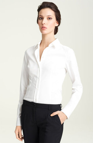 white button front shirt