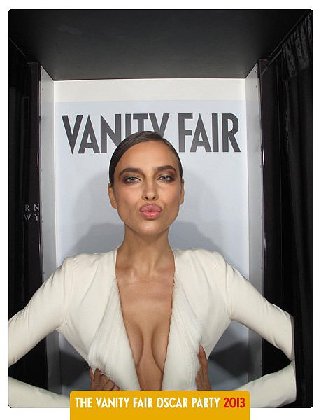 Irina Shayk posed in Vanity Fair's Oscars party photo booth.