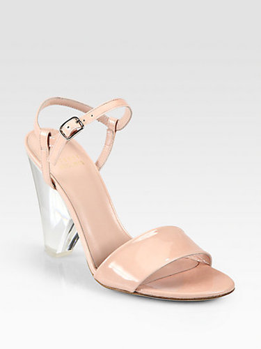 Stuart Weitzman Theone Patent Leather Lucite Heel Sandals