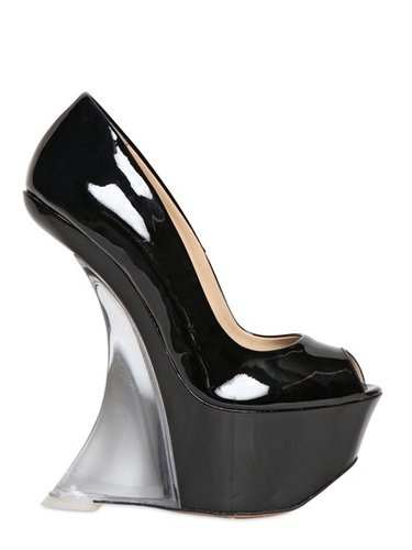165mm Patent Open Toe Plexi Glass Wedges