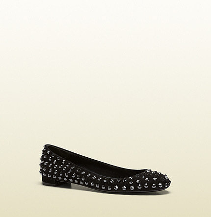 Yulia Black Suede Ballerina With Crystal Studs