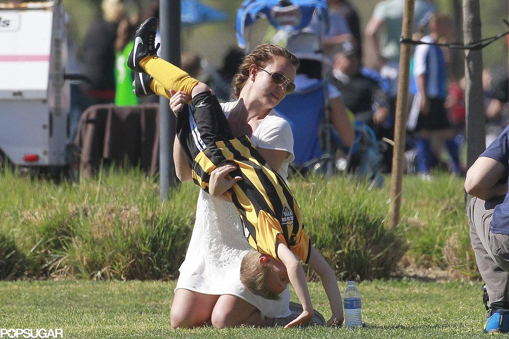 Britney Spears helped Jayden with his cartwheels.