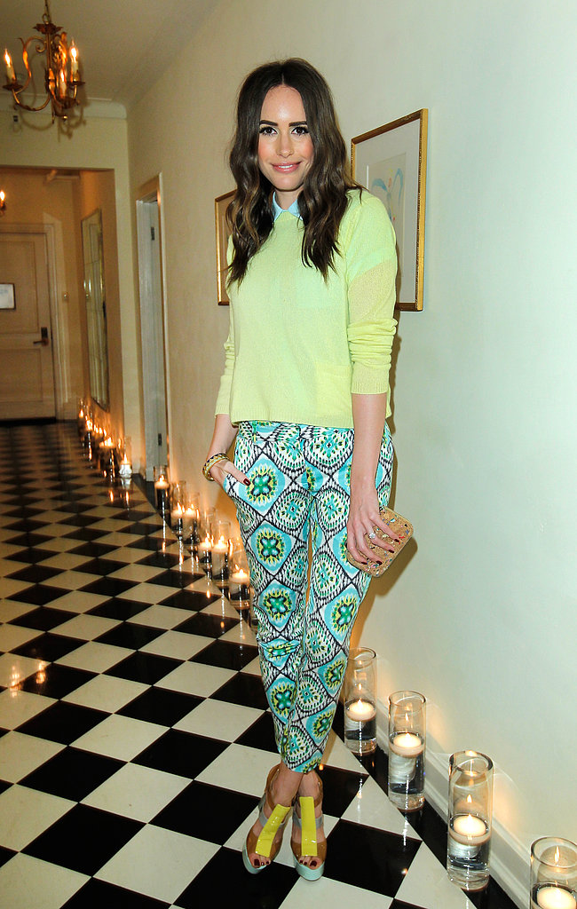 Louise Roe brought a bevy of colors (citrus, turquoise, blue) and prints to the Joe Fresh dinner in LA.